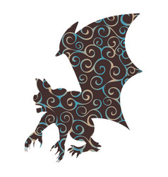 Gargoyle chimera pattern silhouette ancient vector