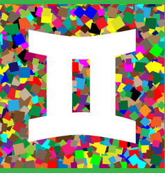 gemini sign white icon on colorful vector image