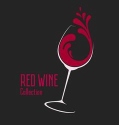 glass wine with splash logo design vector image