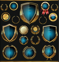 gold and blue shields labels and laurels vector image