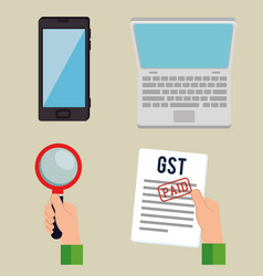 Gst time set elements icons vector