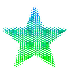Halftone blue-green fireworks star icon vector
