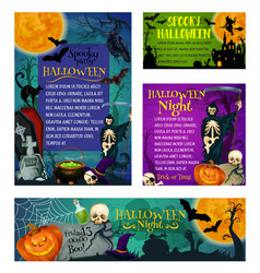 Halloween holiday party trick treat posters vector