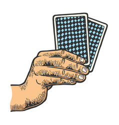 hand with playing cards color sketch engraving vector image