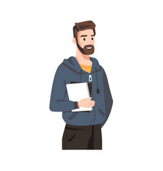 happy bearded guy in hoodie with book business man vector image