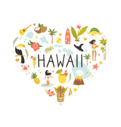 Hawaii emblem print with symbols landmarks icons vector