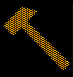 Hexagon halftone hammer icon vector