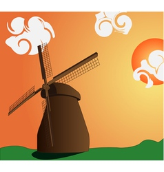 Image of the mill and sunset with clouds vector