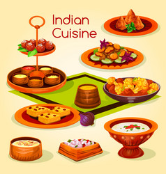 Indian cuisine lunch with dessert cartoon icon vector