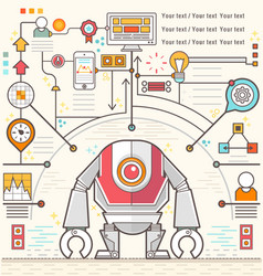 Infographic robot standing confidently of chart vector image
