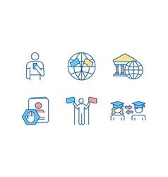 International affairs rgb color icons set vector