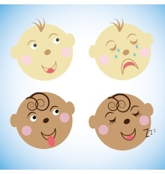 Kids faces childrens emotions vector