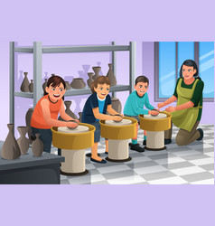 Kids in pottery class vector