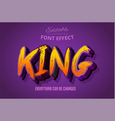 King text 3d purple and orange editable font vector