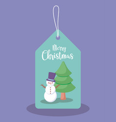 label with snowman and tree of christmas vector image