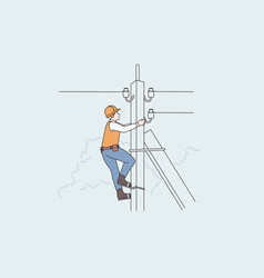 Lightning equipment and workers concept vector