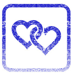 Linked hearts framed textured icon vector