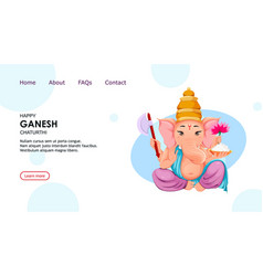 Lord ganesha idol in traditional indian clothes vector