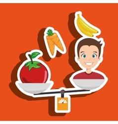 Man cartoon vegetable organic balance vector
