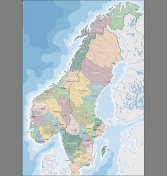 Map of norway and sweden vector