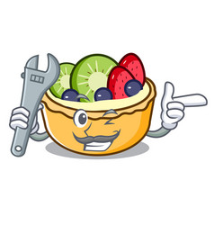mechanic fruit tart mascot cartoon vector image