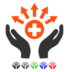medical distribution care hands flat icon vector image