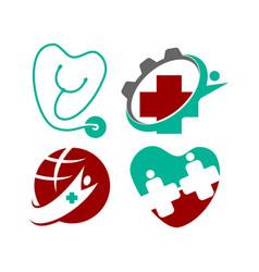 medical health clinic logo template set vector image