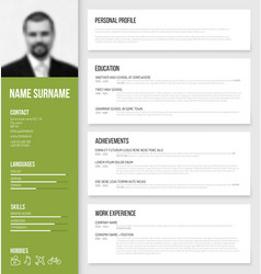 minimalistic cv resume template vector image