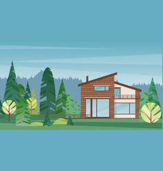 modern wooden house colorful flat vector image