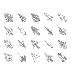 Mouse cursor charcoal draw line icons set vector