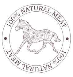 Natural meat stamp with horse vector image