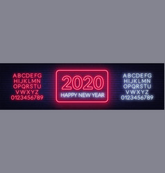 neon sign happy new year 2020 on a dark background vector image