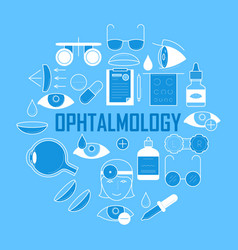 Ophthalmology banner with outline pictograms vector