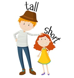 Opposite adjectives tall and short vector