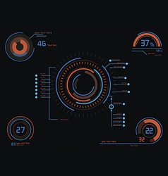 Orange and blue infographics as head-up display vector image