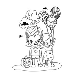Outline girl and boy costumes with balloons and vector