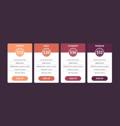 Pricing table template design for business vector