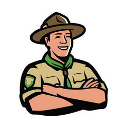 ranger in uniform scout camping symbol vector image