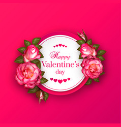 realistic 3d floral valentines day banner with vector image