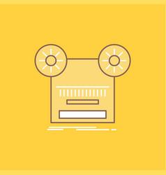 record recording retro tape music flat line vector image