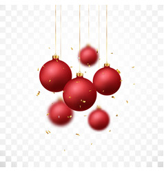 red christmas balls design isolated on white vector image