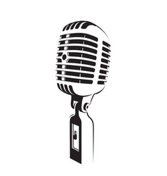 Retro microphone light silhouette on white vector