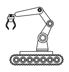 Robotic arm mobil black and white vector