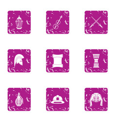 Safeguard icons set grunge style vector