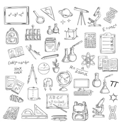 School supplies sketches for education design vector