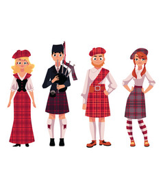 Scottish people in traditional national costumes vector