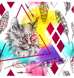 seamless pattern sketching of cat vector image