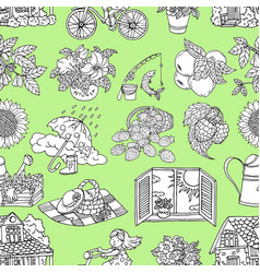 seamless pattern with summer objects on green vector image