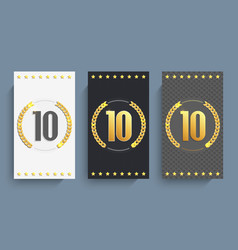 Set of 10th anniversary cards template vector