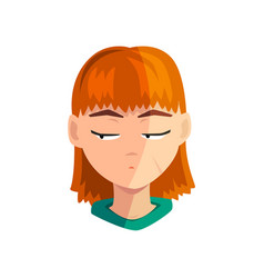 shy redhead girl female emotional face avatar vector image
